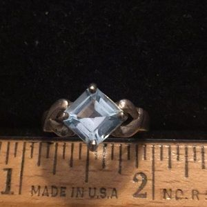 Sterling square cut blue topaz ring Sz 7